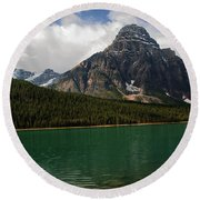 Mount Chephren From Waterfowl Lake - Banff National Park Round Beach Towel
