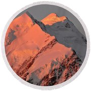 Mount Cook Range On South Island In New Zealand Round Beach Towel