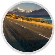Mount Cook Road Round Beach Towel