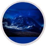 Mount Denali Moonlight Alaska Round Beach Towel