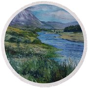 Mount Errigal Co. Donegal Ireland. 2016 Round Beach Towel