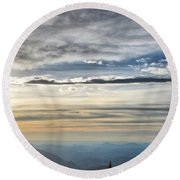 Mount Evans Painterly 1 Round Beach Towel