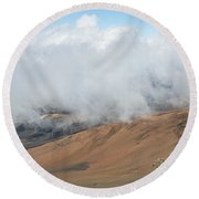 Mount Haleakala Crater Round Beach Towel