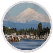 Mount Hood And Columbia River House Boats Round Beach Towel