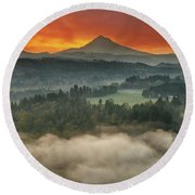 Mount Hood And Sandy River Valley Sunrise Round Beach Towel