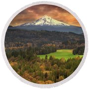 Mount Hood At Sandy River Valley In Fall Round Beach Towel
