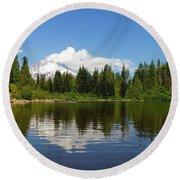 Mount Hood By Mirror Lake Round Beach Towel