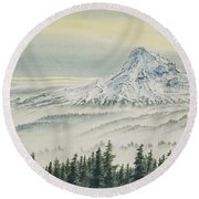 Mount Hood Evening Round Beach Towel