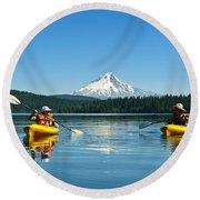 Mount Hood Kayakers Round Beach Towel
