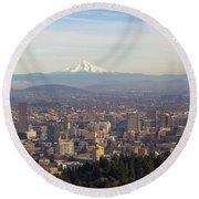 Mount Hood Over City Of Portland Oregon Round Beach Towel