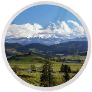 Mount Hood Over Fruit Orchards In Hood River Round Beach Towel