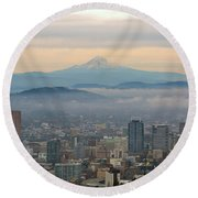 Mount Hood Over Portland Downtown Cityscape Round Beach Towel