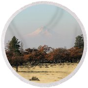 Mount Hood Over The Flats Round Beach Towel