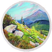 Mount Hoverla Round Beach Towel