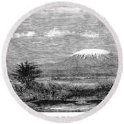 Mount Kilimanjaro, 1884 Round Beach Towel