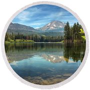 Mount Lassen From Manzanita Lake Round Beach Towel