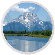 Mount Moran At Oxbow Bend Round Beach Towel
