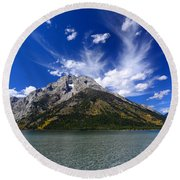Mount Moran From Leigh Lake Round Beach Towel