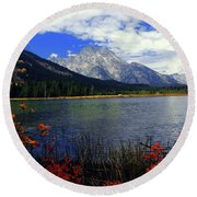 Mount Moran In The Fall Round Beach Towel