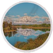 Mount Moran On Oxbow Bend Round Beach Towel by Brian Harig