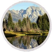Mount Moran Reflections Round Beach Towel