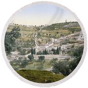 Mount Of Olives, C1900 Round Beach Towel