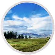 Mount Pagosa Meadow Round Beach Towel