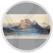 Mount Pilatus From Lake Lucerne, Switzerland Round Beach Towel