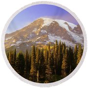 Mount Raineer 2 Round Beach Towel