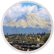 Mount Rainer Over Port Of Tacoma Round Beach Towel