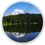 Mount Rainer Reflecting Into Reflection Lake Round Beach Towel