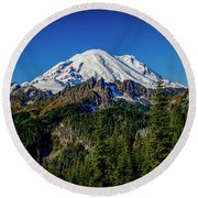 Mount Rainier - Eastside Round Beach Towel
