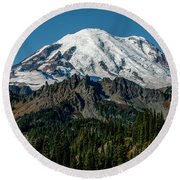 Mount Rainier - Cowilitz Chimneys  Round Beach Towel