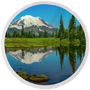 Majestic Reflection - Mount Rainier - 2 Round Beach Towel