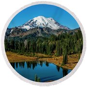 Natures Reflection - Mount Rainier Round Beach Towel
