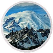Early Snow - Mount Rainier  Round Beach Towel