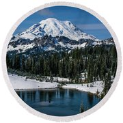 Mount Rainier - Tipsoo Lake Round Beach Towel