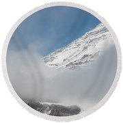 Mount Rainier Behind Clouds 2 Round Beach Towel