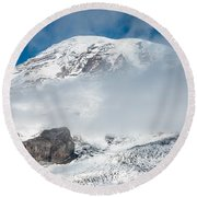 Mount Rainier Behind Clouds 3 Round Beach Towel