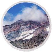 Mount Rainier Closeup Round Beach Towel