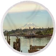 Mount Rainier From City Of Tacoma Washington Waterfront Round Beach Towel
