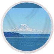 Mount Rainier From Puget Sound Round Beach Towel