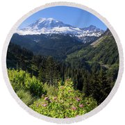 Mount Rainier From Scenic Viewpoint Round Beach Towel