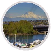 Mount Rainier From Thea Foss Waterway In Tacoma Round Beach Towel
