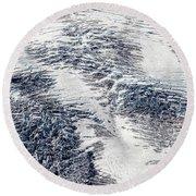 Mount Rainier Glacier Abstract Round Beach Towel
