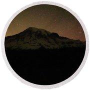 Mount Rainier Night Sky Round Beach Towel