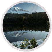 Mount Rainier Reflection Lake W/ Tree Round Beach Towel
