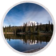 Mount Rainier Reflection Round Beach Towel