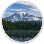 Mount Rainier Reflections Round Beach Towel