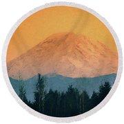 Mount Rainier, Sunset Round Beach Towel